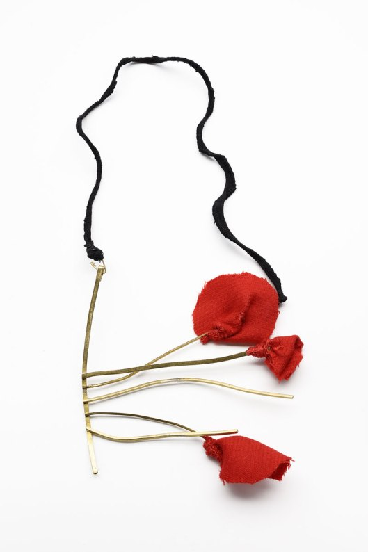"Catalina Brenes - ""Pettunia"", 2009. Necklace. Brass, fabric and silk. Photo courtesy of the artist."