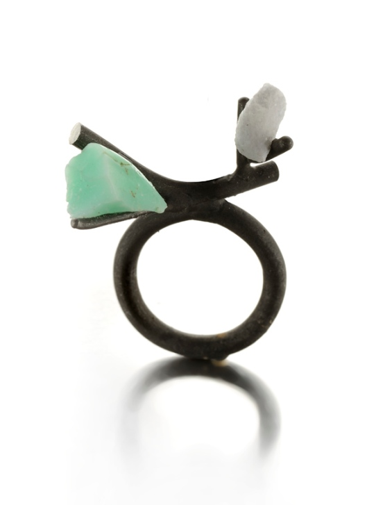 Catalina Brenes - MORFOSI SERIES RING, 2011. Silver, Carrara marble and turquoise. Photo courtesy of the artist