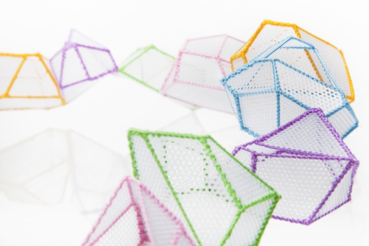 Joanne Huang - New Project - Necklace. PVC mesh sheet, colour thread. Photo courtecy of the artist.