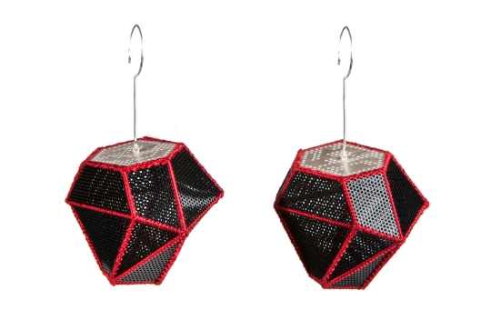 Joanne Huang - 'Cover & Discover' Series. Earrings. Silver, PVC sheet, silk. Photo courtecy of the artist.