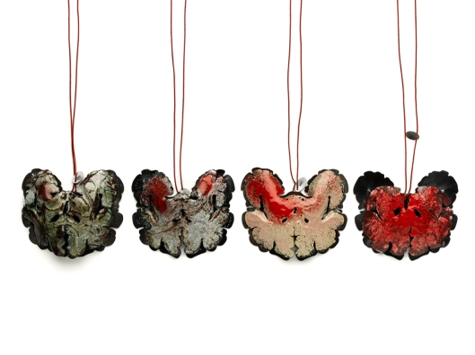 Agnieszka Knap - 'Anatomy of Fear'. Pendants. Copper, silver, enamel, silk thread.