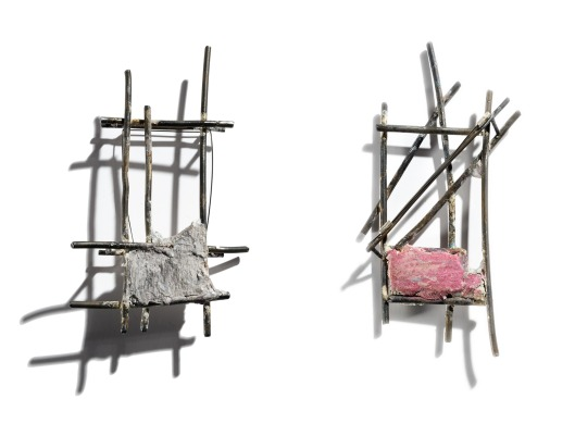 Maru Lopez - Hablan, 2009. Brooches. Iron, cement, acrylic paint. Photo courtesy of the artist.