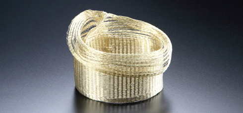 Kazumi Nagano - Bracelet. Golden thread. Photo from http://www.craftscouncil.org.uk