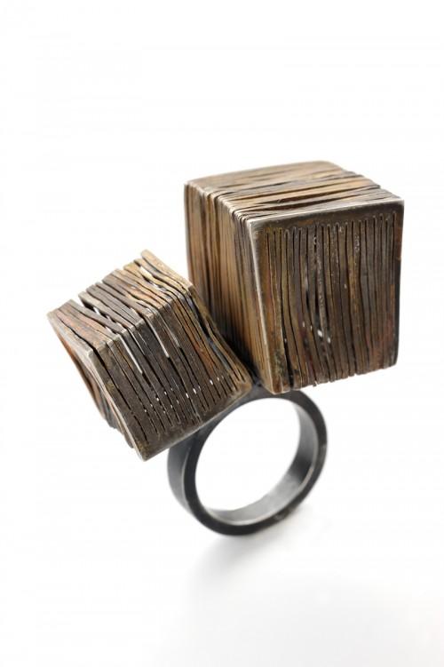 Anastasia Kandaraki - Ring. Oxidized silver. Photo from http://www.artjewelryforum.org