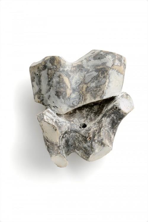 Anastasia Kandaraki - Boom. Brooch. Bone, plaster, acrylic, silver. Photo from http://www.artjewelryforum.org