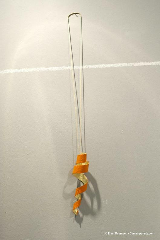 "Ioanna Alexiou - ""Orange or Orange?"" (2012). Pendant. Nickel silver, paint. Photo by Eleni Roumpou"