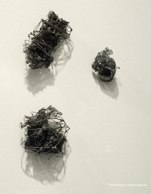 "Maro Vasileiadou - ""Mavri apo to kako tis"" (black with anger, 2012). Brooches. Wire, sponge, nickel silver. Photo by Eleni Roumpou"