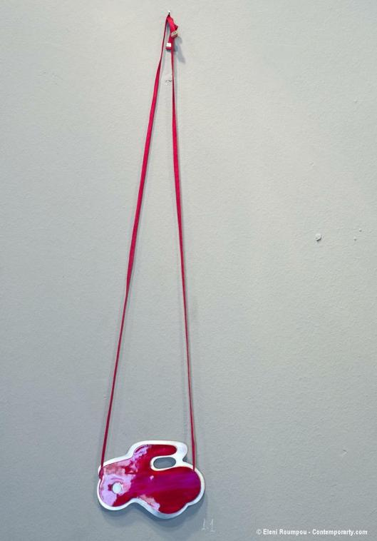 "Katerina Glyka - ""Vespa"" (Scooter, 2012). Necklace. Silver 925, paint, silk thread. Photo by Eleni Roumpou"