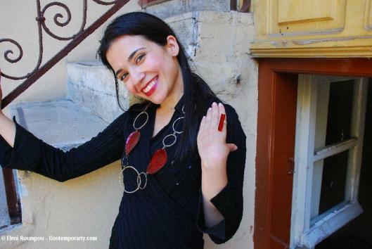 Maria Derebe with necklace and ring by Evaggelia Demetriou - Photo by Eleni Roumpou