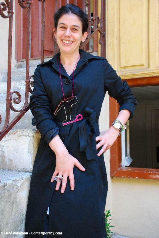 Faidra Hadjikonstantis with necklace by Elli Glynou and ring by Chrysa Hatzikonstantinidou - Photo by Eleni Roumpou