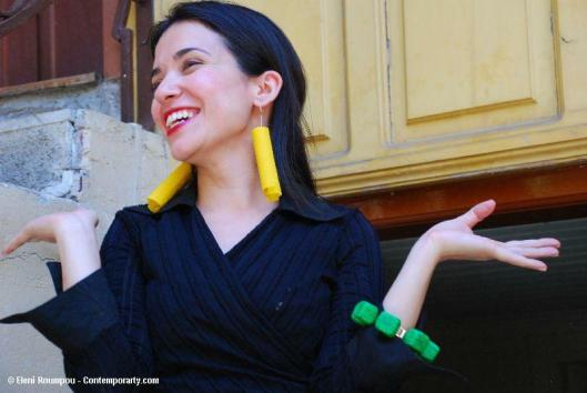 Maria Derebe with bracelet by Anna Pervolaraki and earrings by Eleni Roumpou - Photo by Eleni Roumpou