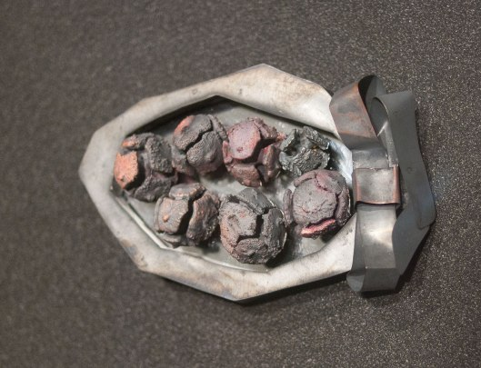 "Kaire Rannik - ""Inonotus Obliquus"" (2010). Brooch: Silver, copper, mirror, steel. Photo by Eleni Roumpou"