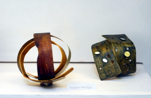 Georgia Biliri - Bracelets: Wood, bronze, paint. Photo by Eleni Roumpou