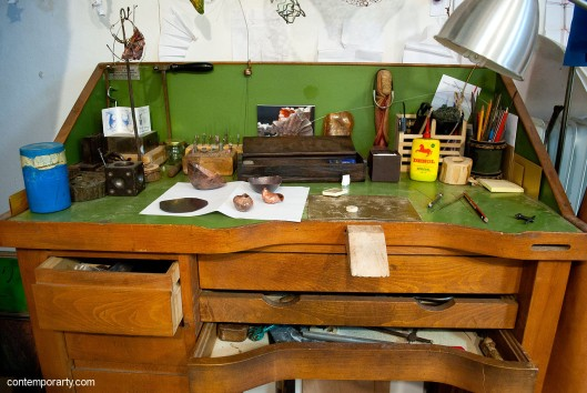 Akis Goumas' working bench. Photography by Eleni Roumpou