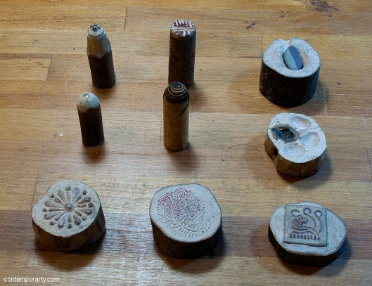 Akis Goumas' workshop: wooden moulds and dies. Photograph by Eleni Roumpou
