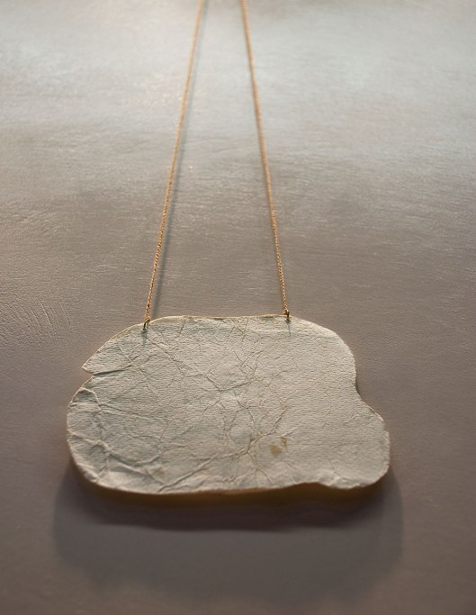 Chiara Cavallo - Necklace. Paper, gold, thread. Photo by Eleni Roumpou
