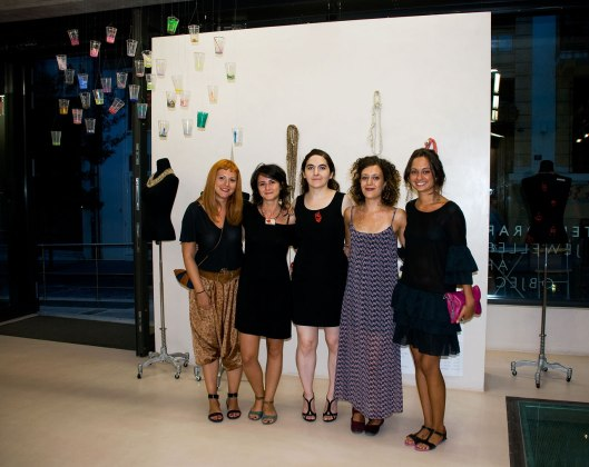 From left to right: Ioanna Natsikou (also Alchimia alumna who was visiting the exhibition), Valentina Caporali, Enrica Prazzoli, Chiara Cavallo and Lavinia Rossetti. Photo by Eleni Roumpou