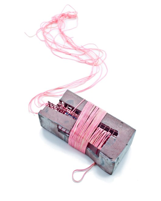 "Demitra Thomloudis - ""Bound (in pink)"" (2013). Necklace. Cement, steel, resin, pigment, cord. Picture courtesy of the artist."