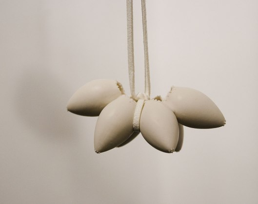 Shih-Dea (Deborah) Tseng - Neckpieces (2013). Porcelain, plaster, leather. Photo by Eleni Roumpou