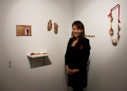 Han-Chieh (Joy) Chuang at the Bench 886 exhibition. Photo by Eleni Roumpou