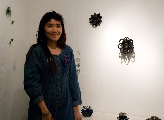 Yu-Ping Lin at the Bench 886 exhibition. Photo by Eleni Roumpou