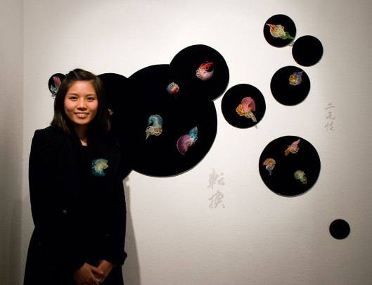 Cai-Xuan Wu at the Bench 886 exhibition. Photo by Eleni Roumpou